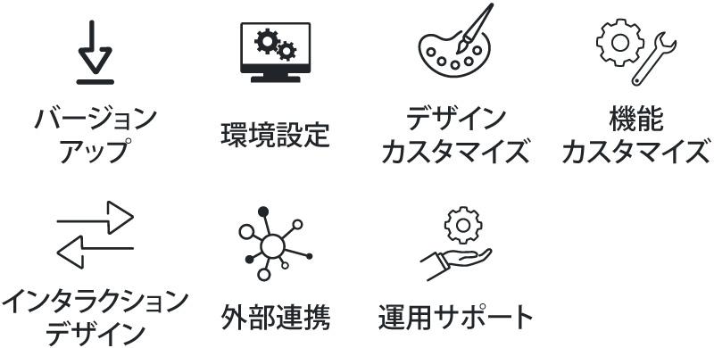バージョンアップ、デザインカスタマイズ、機能カスタマイズ、インタラクションデザイン、運⽤サポート